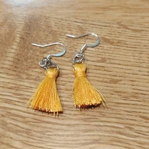 Mustard mini tassel earrings